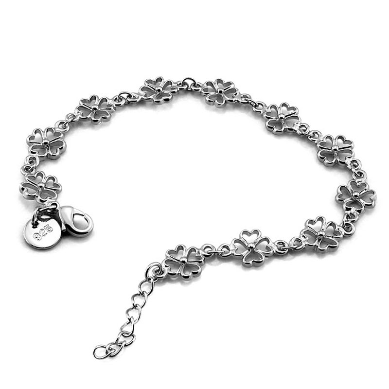 Us 9 52 20 Off Fashion Beautiful Flower Bracelet Solid 925 Silver Clover Woman Lucky Jewelry Sterling Accessories Gift In