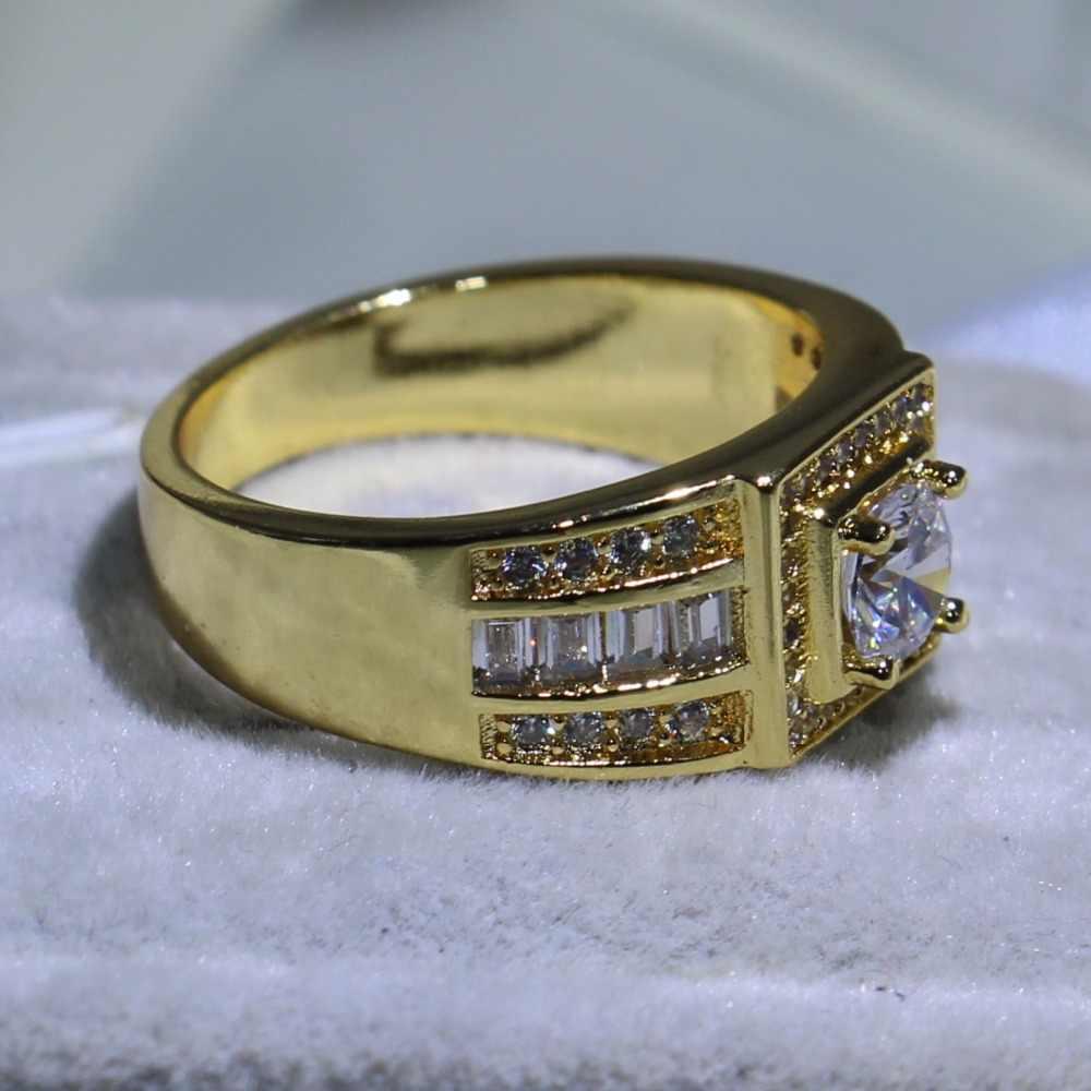 ขนาด8-13ยี่ห้อใหม่ประกายเครื่องประดับแฟชั่น10KTสีเหลืองทองเต็มไปปริ๊นเซตัด5A Cubic Z Irconia CZ Enternityผู้ชายวงแหวน