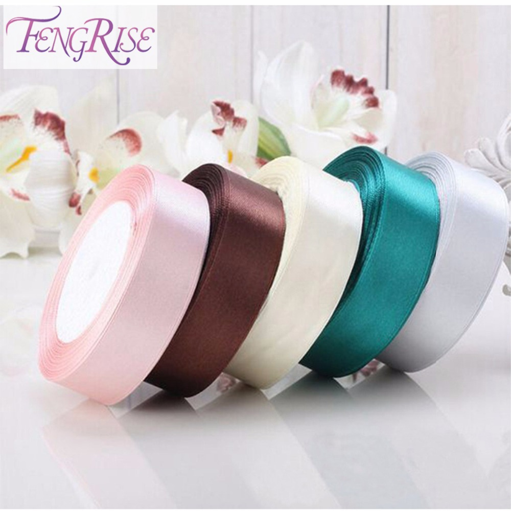 Fengrise 25 mm 22 meters silk satin ribbons roll wedding for Decoration tape