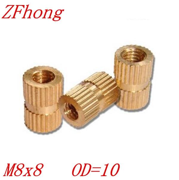 100pcs OD=10 M8*8 Brass Insert Knurled Nut ,M6 Brass Round Nut For Injection Moulding
