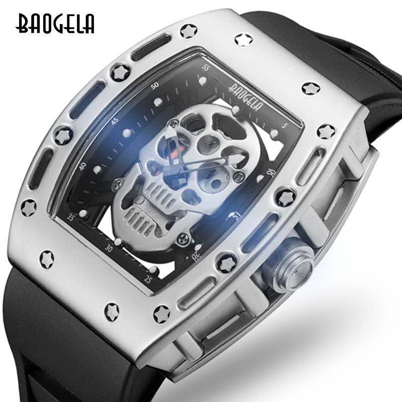 BAOGELA 2017 Skull Totem Fashion Popular Men s Watches Skeleton Pirate Luxury Male Hollow Watch Unique