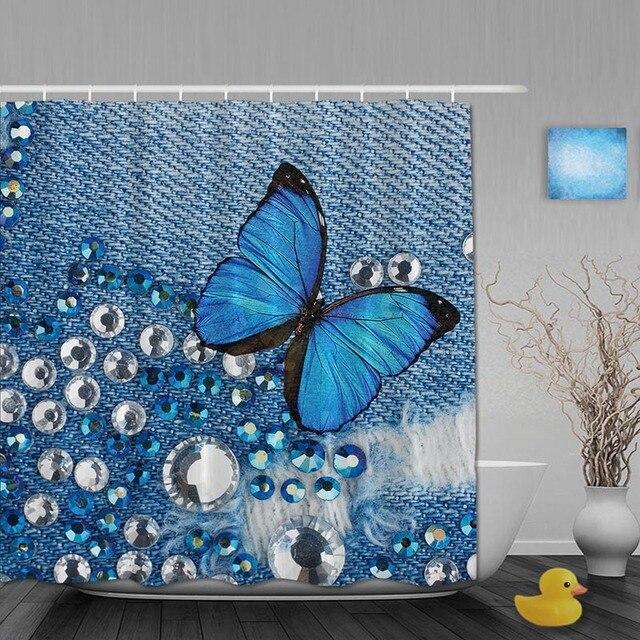 Morden Sequin Bathroom Shower Curtains Butterflies Curtain Waterproof Polyester Fabric Custom Hooks