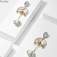 New Fashion Geometric Multi Circle Simulated Pearl Long Drop Earrings for Women Square Crystal Gold Ball Dangle Earrings 2019 fashion dangle earrings new style retro noble women 3 circle white simulated pearl drop earrings