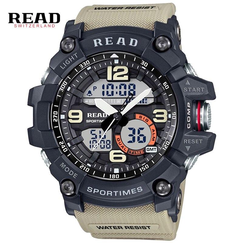 394cd84fc4a9 Deporte de los hombres Relojes de Gran Tamaño Analógico Reloj Militar LED  Digital de Cuarzo de