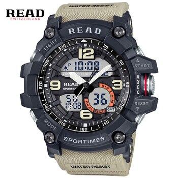 b07087e13624 Deporte de los hombres relojes de gran tamaño analógico reloj militar de  cuarzo Digital LED relojes de choque moda Casual reloj de 2019
