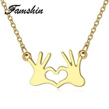 FAMSHIN Fashion Stainless Steel Jewelry Hand Chain Double Love Heart Necklaces Pendants gold for Women Statement Necklace 2018(China)