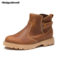 Real Leather Mens Work Safety Boots Motorcycle Riding Boots Man Outdoor Winter Casual Ankle Boots