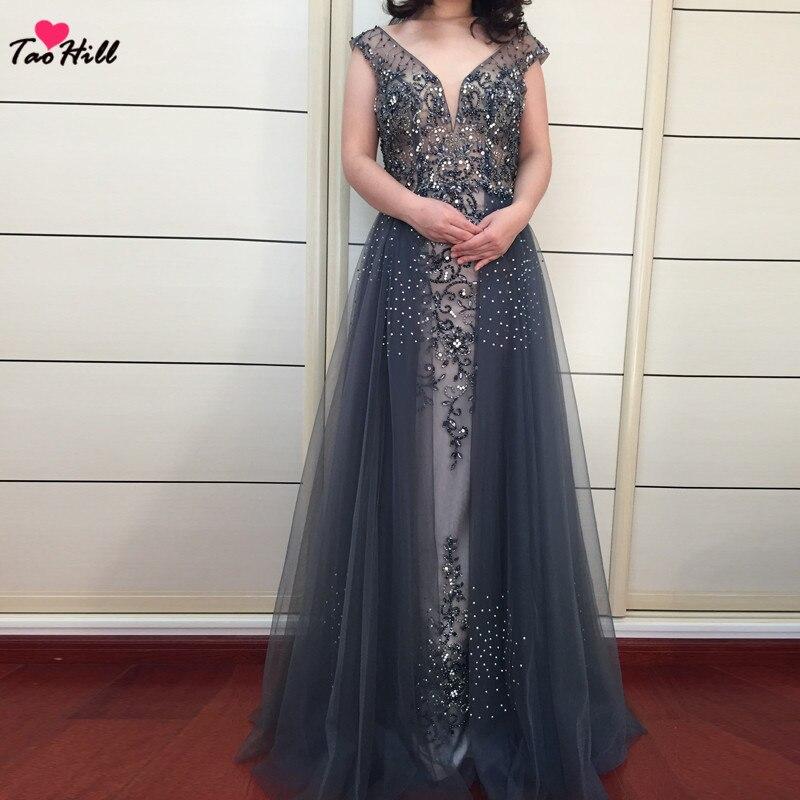9b995421f TaoHill Real Made Luxury Sexy Dark Gray Evening Dress 2019 Sparkly A-line  Deep V