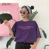 Qlychee Fashion Purple Letter Print Women T Shirt High Street Short Sleeve T Shirt Casual Tee