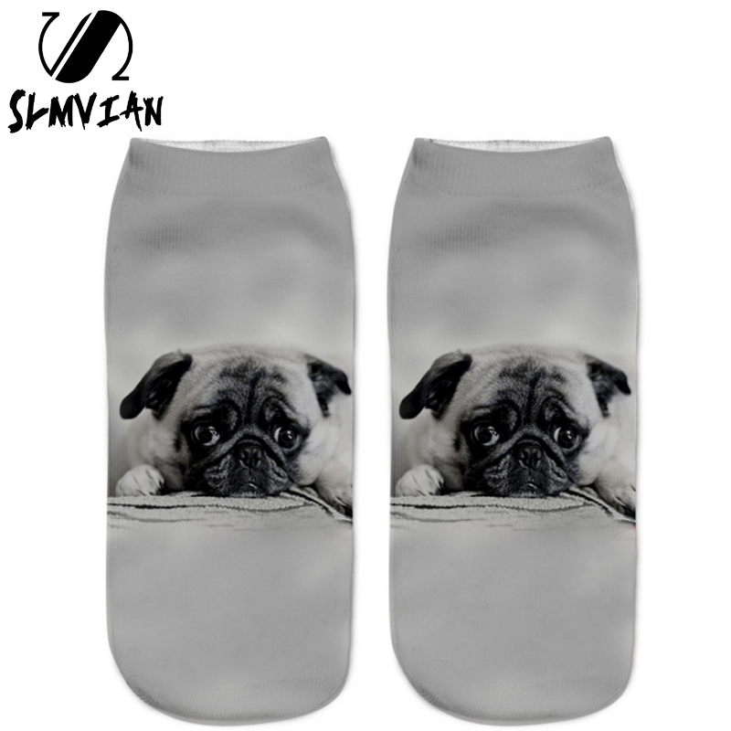 SLMVIAN New Lovely Dog Pattern 3D Print Animal Women Socks Casual Cartoon Socks Unisex Low Cut Ankle Socks-006