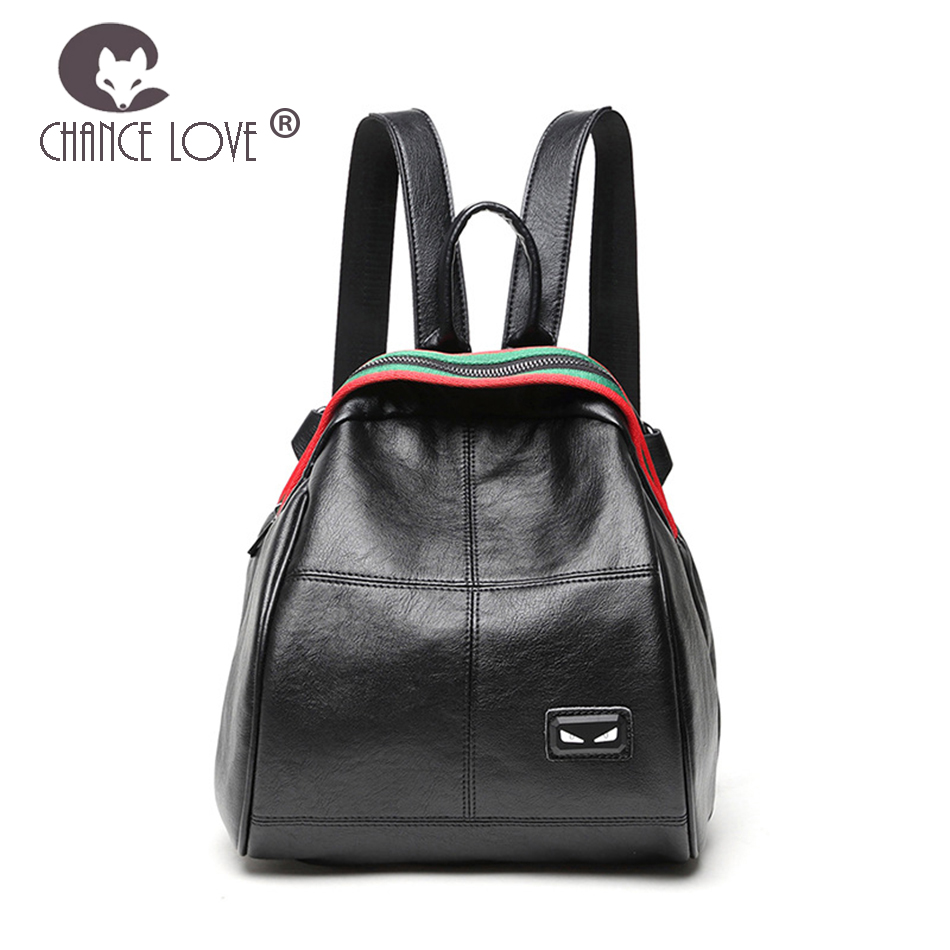 купить Chance Love 2018 new casual shoulder bag women's Genuine leather backpack wild small Monster eyes backpack simple mini bag по цене 3005.49 рублей