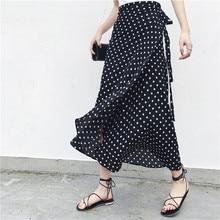 2019 קיץ פרחוני הדפסת קיץ חצאיות בוהמי גבוהה מותן נשים Boho סימטרי שיפון חצאית מקסי ארוך חצאיות לנשים