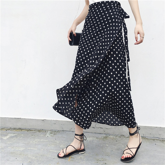 2019 Summer Floral Print Summer Skirts Bohemian High Waist  Womens Boho Asymmetrical Chiffon Skirt Maxi Long Skirts For Women