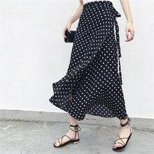 2019 lato kwiatowy Print letnie spódnice czeski wysokiej talii kobiet Boho asymetryczna spódnica szyfonowa długie spódnice maxi dla kobiet