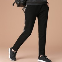 New Arrive Female Elastic Waist Casual Flannels Wear Outside Loose And Casual Harem Pants Black Pants