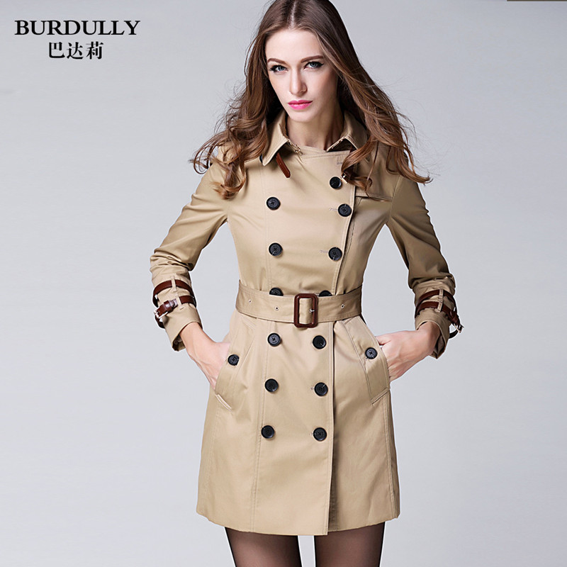 BURDULLY 2018 Womens Jackets Coats High-end British Style Dust Coat - Women's Clothing