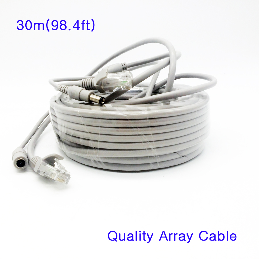 30M 98ft CCTV Camera Network Cable RJ45 12V DC Power CAT5 CAT 5e Extension for security