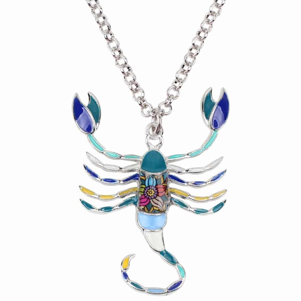 WEVENI הצהרת אמייל סגסוגת עקרב שרשרת שרשרת קולר תליון אופנה מזל גלגל המזלות תכשיטי עבור נשים בנות גבירותיי Bijoux