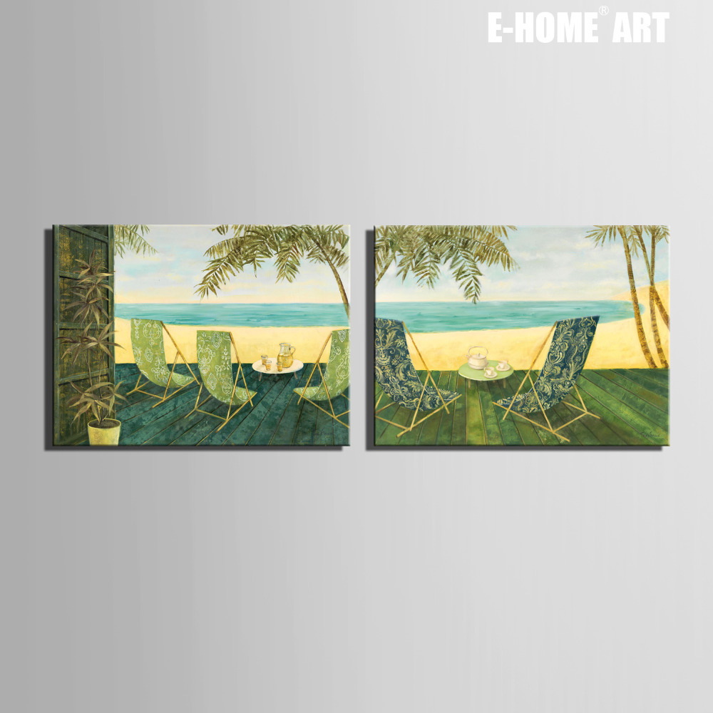 Free Shipping E-HOME Oil Painting  Beach Side Rest Decoration Painting Set of 2 Home Decor On Canvas Modern Wall Prints
