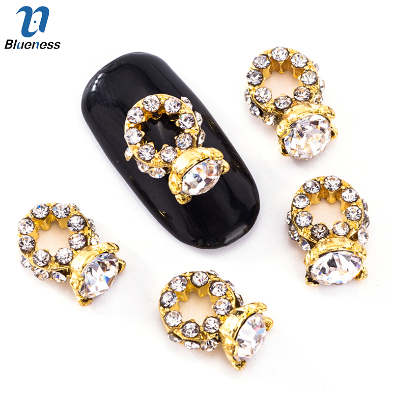 10Pcs/Lot White Blue 2 Colors choice Diamond Ring Alloy Design Nail Art Decorations Rhin ...