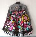 Catimini платье девушки 2016 осень Французский Catimini Одежды ребенка с длинным рукавом платье Младенца детей платье полосы цветы