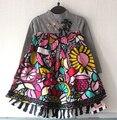 O vestido da menina catimini 2016 outono Francês Catimini Moda criança da longo-luva do vestido Do Bebê crianças vestido de flores tarja