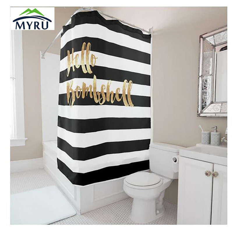 Einfache Stil Schwarz Weiss Streifen Gold Leters Digitaldruck Dusche Vorhang Polyester Wasserdichte Badezimmer In