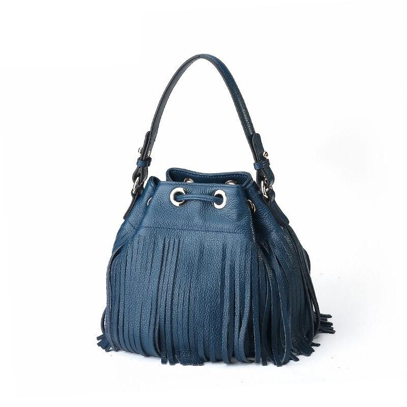 все цены на LOEIL Ladies bag leather handbags bucket bag tassel decorative suede leather ladies handbag
