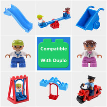 Big Particle Diy Building Blocks Swing Seesaw Slide Motor Accessories Toys For Children Compatible With Legoingly Duploed Bricks(China)