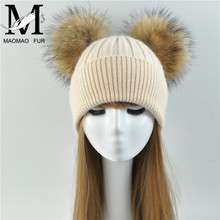 3ad1ea2b31f515 Double Fur Pom Pom Women Winter Hat Female Wool Removable Fur Ball Knitted  Beanie Cap with 2 Natural Color Raccoon Fur Pompon