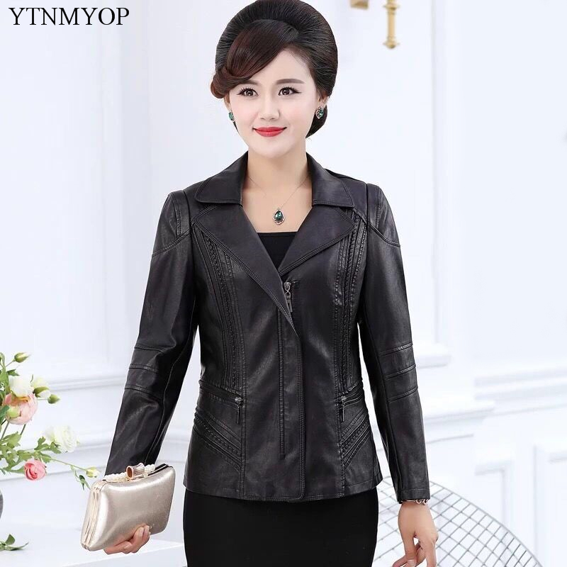 YTNMYOP Women   Leather   Jackets Plus Sizes 5XL Turn-down Collar Zipper   Leather   Clothing Faux   Leather   Casual Loose   Leather   Coats