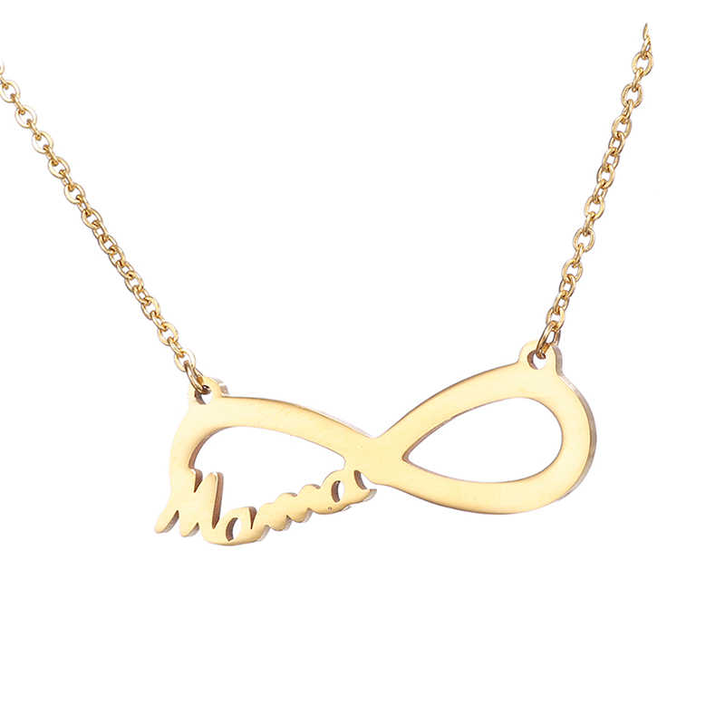 Fashion Infinity 8 character Pendant Necklaces for women jewelry stainless steel mama necklace choker collar mothers day gift