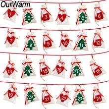 Наш теплый тканевый Рождественский календарь гирлянда 24 шт. 11×16 см Подвесной календарь подарочные сумки новый год 2019 Семейный календарь