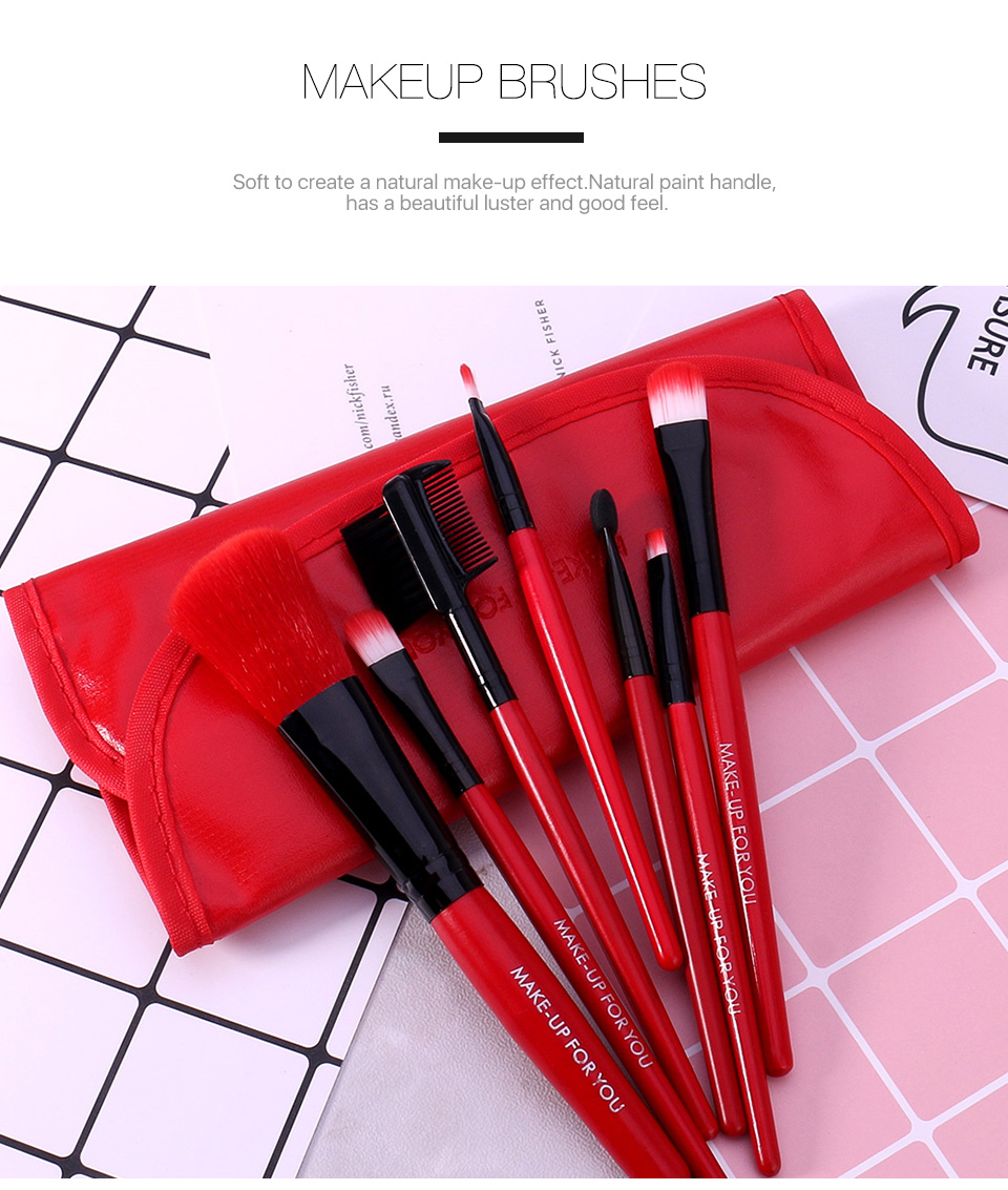 O.TWO.O Makeup Brushes Set 7pcs/lot Soft Synthetic Hair Blush Eyeshadow Lips Make Up Brush With Leather Case For Beginner Brush 15