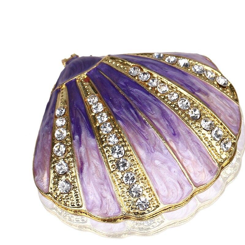 "2.6"" Metal Purple Shells Figurine Women Ring Jewelry"