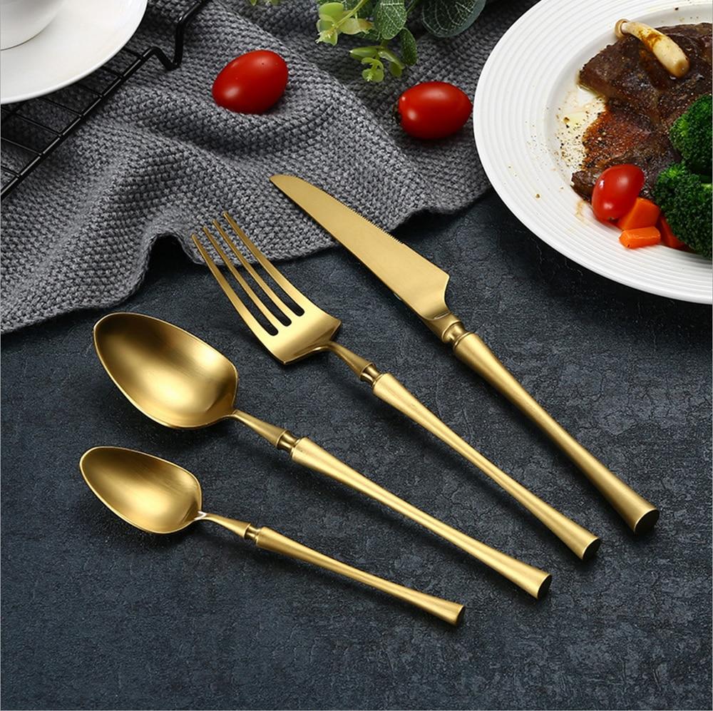 24 unids negro oro Cubiertos cubiertos de acero inoxidable cuchillo ...