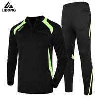2017 18 Men Sport Running Survetement Football Set Long Jacket Suit Soccer Training Skinny Leg Pants Tracksuits Kits Sportswear