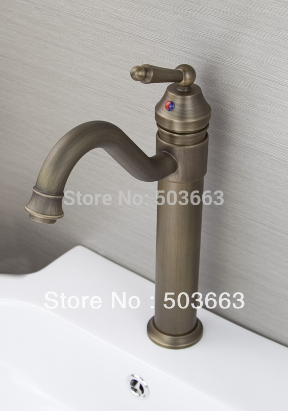 Fashion New Swivel Spout Design Wholesale Antique Brass Bathroom Basin Sink Faucet Vanity Brass Faucet H-027 Mixer Tap Faucet antique brass swivel spout dual cross handles kitchen