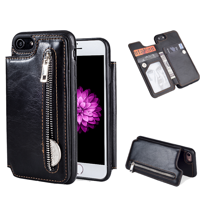 Vintage Leather Case For iPhone 8 8 Plus 7 7 Plus 6 6s Plus Case Zipper Wallet Card Cover Stands Flip Phone Case For iPhone X iPhone