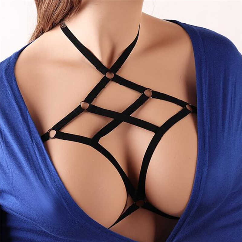 PINKSEE Sexy Cage Bra Body Jewelry Chain for Women Boho Bikini harness Bra Hollow Out Statement Bra Necklace