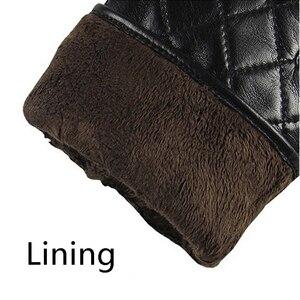 Image 5 - Guantes de piel auténtica Lisa para hombre, guantes de piel de oveja a la moda, de terciopelo, para invierno térmico, M020NC, 2020