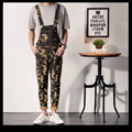 Japanese Style Mens Camouflage Overalls Straight Casual Long Men Bib Suspender Pants One Piece Mens Fashion Camo Jumpsuits XXL