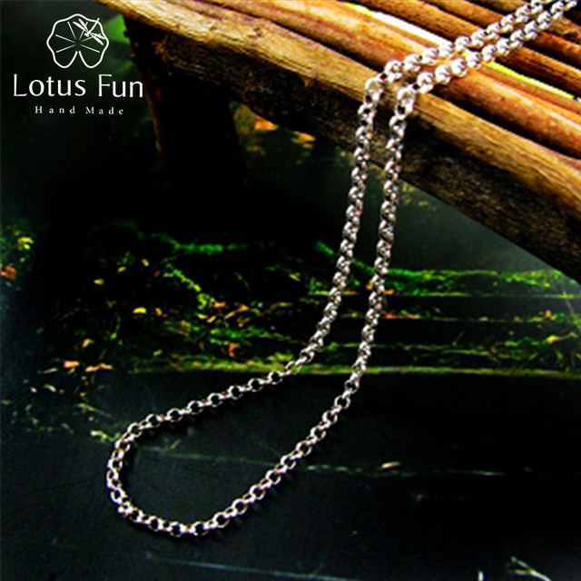 Lotus Fun Real 925 Sterling Silver Handmade Fine Jewelry Long Necklace Chain without Pendant Acessorios for Women Collier
