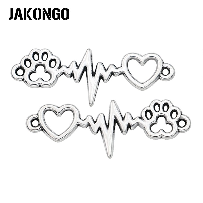 JAKONGO  Antique Silver Plated Dog Footprint Heart Electrocardiogram Connector for Jewelry Making Bracelet DIY 34x12mm 20pcs/pcsJAKONGO  Antique Silver Plated Dog Footprint Heart Electrocardiogram Connector for Jewelry Making Bracelet DIY 34x12mm 20pcs/pcs