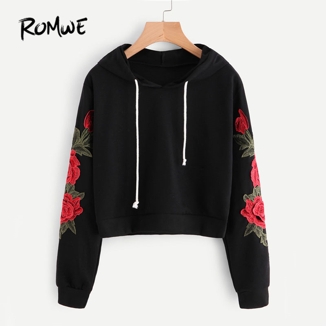 df93a0c1bdee ROMWE Embroidered Rose Applique Sleeve Hoodie Autumn Long Sleeve ...