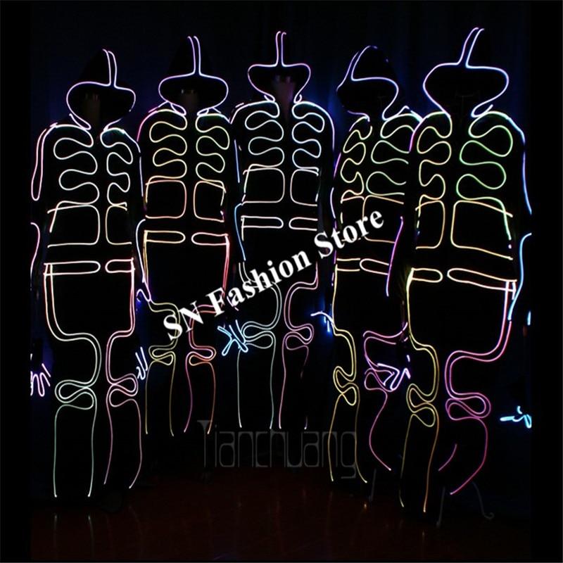TC-152 코스프레 LED 화려한 빛 로봇 댄스 의상 풀 컬러 파티 디스코 착용 볼룸 dj 프로그램 옷 성능