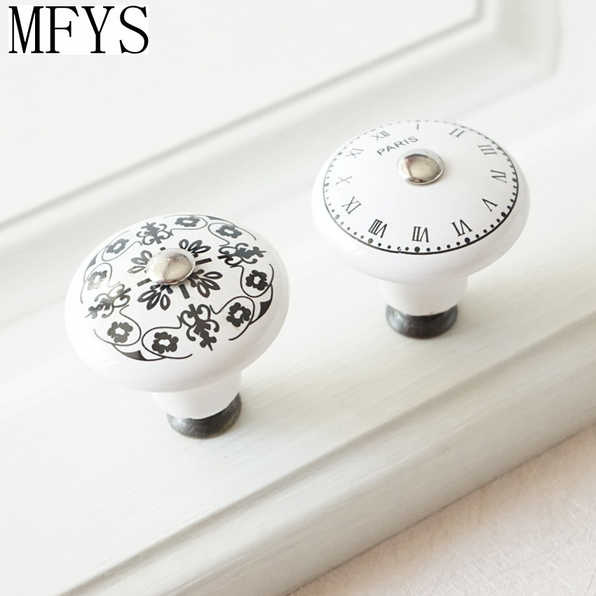 2 61 Noir Blanc En Ceramique Horloge Fleur Commode Boutons Poignees Tiroir Decoratif Boutons Meubles Boutons Chic Cuisine Placard Porte Poignee In