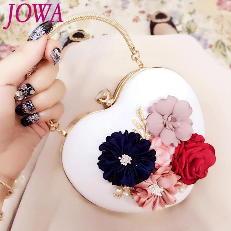 2017 New Design Women Evening Bags Socialite Flower Handbag Heart Mini Package Wedding Party Bride Clutch Night Purse Chains Bag