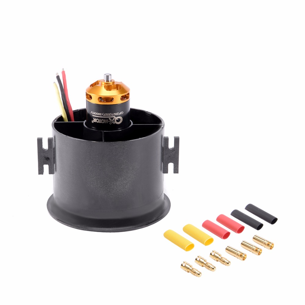 цена на UXCELL 70mm 6 Blades EDF Ducted Fan Set Jet Engine with 3800KV RC Brushless Motor for RC Airplane