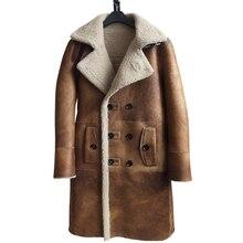 Abrigo de piel de oveja auténtica a la moda para hombre, chaqueta larga y gruesa Formal de invierno, 4XL abrigo de piel de oveja, 2020